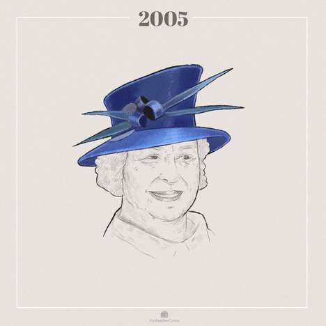 Chronological Royal Wardrobe Illustrations - MyVoucherCodes' Quirky GIF Shows Queen Elizabeth's Hats