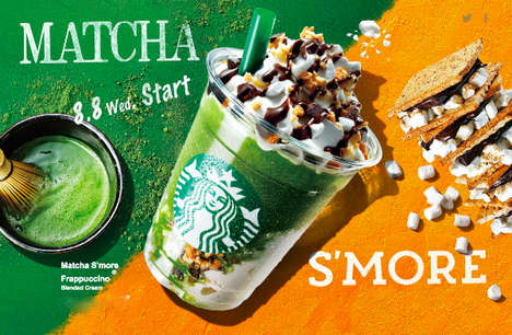 Refreshing Cultural Fusion Drinks - Starbucks' Frappuccino Fuses Beloved American & Japanese Snacks