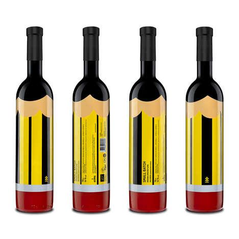 Pencil-Themed Wine Bottles