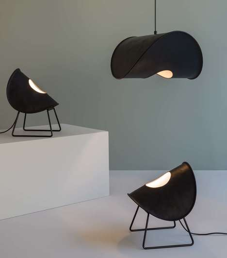 Hand-Stitched Leather Lamps - Jacob de Baan Designs the Zero Collection for UNIQKA Design Studio
