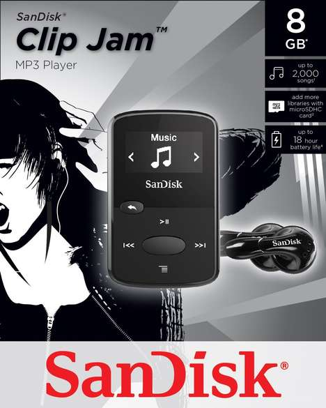 Wearable Dedicated MP3 Players - The SanDisk Clip Jam MP3 Player Offers 18 Hours of Playback