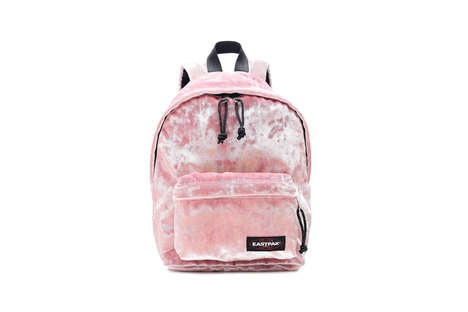 Pink Crushed Velvet Backpacks