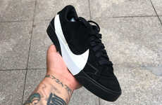 Sleek Contemporary Sneakers - The Nike Blazer Lows Have a Different Iteration of the Iconic Swoosh