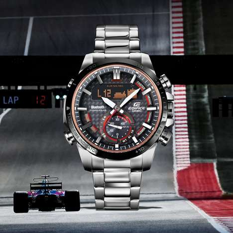 Bold Auto-Updating Watches - The Casio Edifice ECB800DB-1A Timepiece Features Tough Solar Power