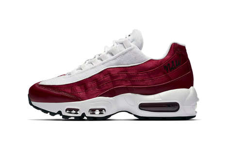 Chunky Satin Sneakers - Nike's Air Max 95 Silhouette Was Updated with a 'Red Crush' Colorway