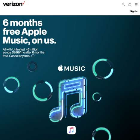 Complimentary Telecom Streaming Promotions - Verizon Wireless Offers Subscribers Free Apple Music