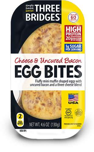 Microwavable Egg Bites - Three Bridges Cheese & Uncured Bacon Egg Bites are Ready in 60 Seconds