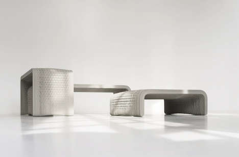 Woven 3D-Printed Benches