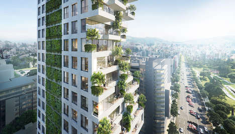 "Vegetative Residential Tower Designs - Safdie Architects' Building Boasts a ""Hillside of Terraces"""