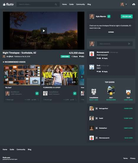 Prosumer-Friendly Video Platforms - The 'Fluttr' Video Sharing Platform Has an Intuitive Interface
