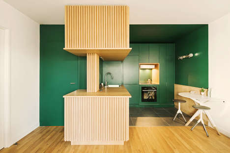 Emerald Green Apartment Interiors - Atelier Sagitta's Design is Color-Rich, Bold and Assertive