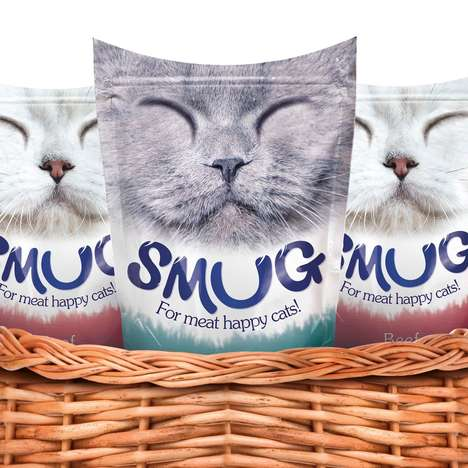 Smiling Feline Food Packaging - The Conceptual Smug Cat Food Brand is Tongue-in-Cheek