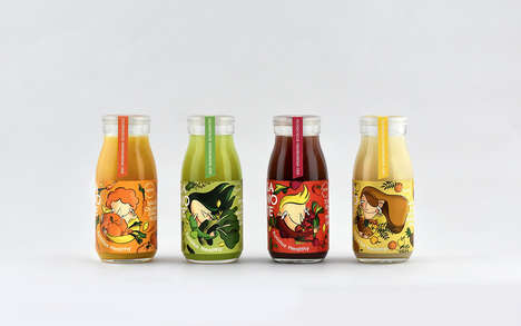 Abstract Cartoon Juice Branding - The Sanote Cold-Pressed Juice is Made with Fresh Ingredients