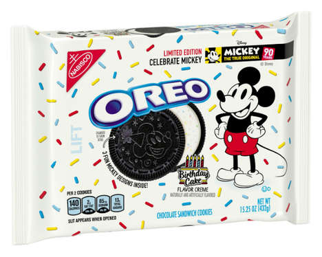 Cartoon-Celebrating Cookies - Oreo's Birthday Cake-Flavored Cookies Celebrate Mickey Mouse's 90th