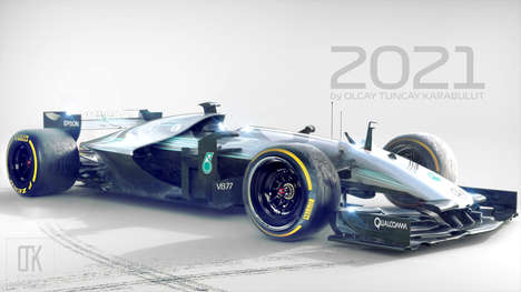Ultra-Futuristic Racing Cars - The Formula One 2021 Race Car Concept Imagines the Future of Racing