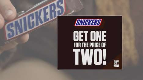 Poorly Priced Chocolate Ads - Snickers' Banner Ad Promotes 1 Bar for the Price of 2