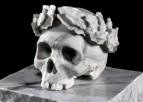 Hand-Sculpted Marble Skulls