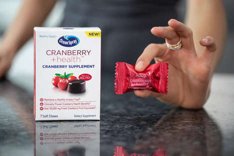 Cranberry Soft Chew Supplements - Ocean Spray's CRANBERRY +health Supplement is Made with Real Fruit