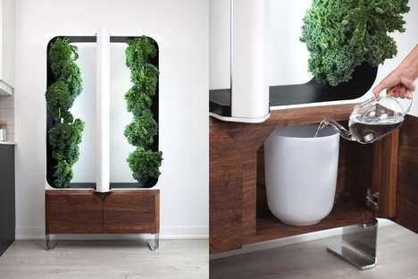 Living Room Furniture Gardens - The 'Aeva' Hydroponic Garden Stylishly Produces Fresh Edibles