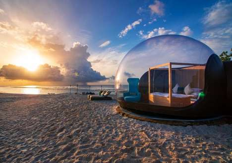 Maldivian Beach Bubble Accommodations - The Finolhu Beach Bubble Tent is Rustic Yet Luxurious