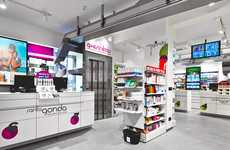 Graphic Pharmacy Merchandising - Pharmacy Santa Gonda Boasts Vivid Signage and Streamlined Displays