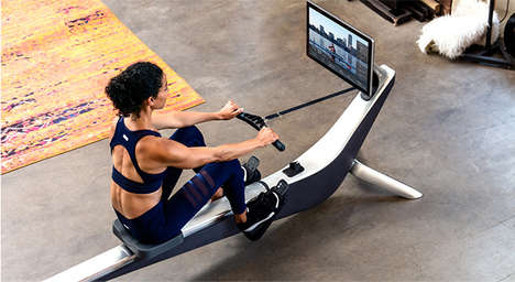 Connected Rowing Exercise Machines
