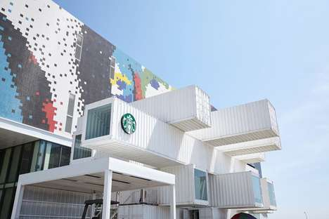 Shipping Container Cafes - The Hualien Bay Mall Starbucks by Kengo Kuma  is Located in Taiwan