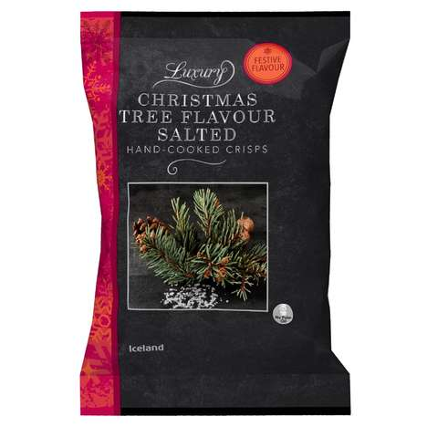 Festive Tree-Flavored Chips - Iceland's Holiday Hand-Cooked Crisps are Made with Real Pine Oil