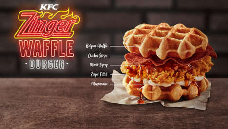 Spicy Chicken Waffle Burgers - KFC's 'Zinger' is Made with Maple Syrup, Mayo and Chicken Bacon