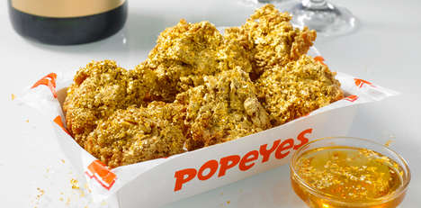 Gilded Celebratory Chicken Wings - The Popeyes 24 Karat Champagne Wings are Available October 4 Only