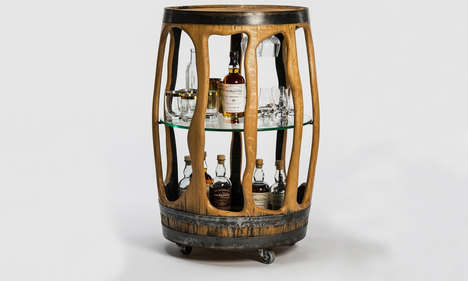 Carved Whiskey Barrel Bars