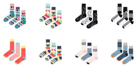 Colorful Three-Piece Sock Sets