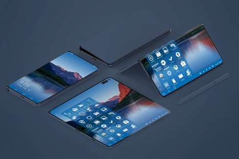 Folding Productivity Tablet Smartphones - The Microsoft Project Andromeda Device is Futuristic