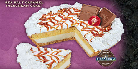 Hybrid Frozen Dessert Cakes - The Cold Stone Creamery Sea Salt Caramel PieScream Cake is Indulgent