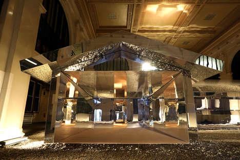 Indoor Mirrored House Installations - Doug Aitken's L-Shaped Pavilion is Dubbed 'Mirage Detroit'