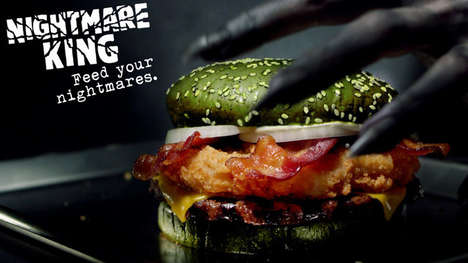 Ghoulishly Green Burgers - The Burger King Nightmare King Sandwich is Here for Halloween Only