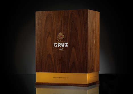 Celebratory Port Packaging - Gran Cruz's Old Tawny Port Comes in a Stunning Wooden Structure