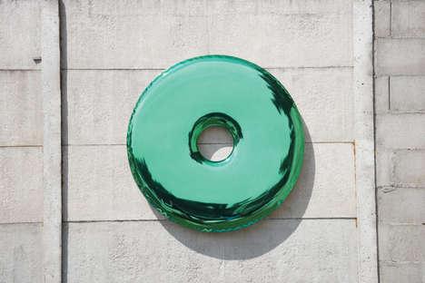Circular Inflated Metal Mirrors