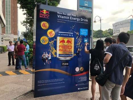 Bus Shelter Vending Machines - Red Bull's Bus Shelter Advertisements Share Red Bull Plus Samples