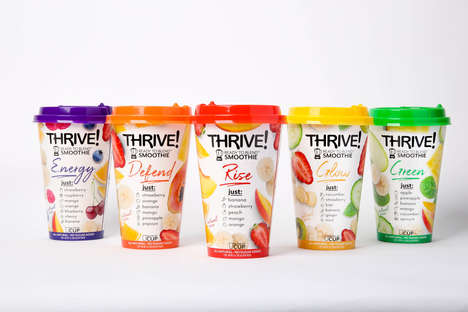 Functional Smoothie Cups - Thrive! Supports Active Lifestyles with Ready-to-Blend Smoothies