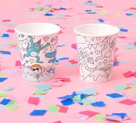 Personalized Party Cup Decor - These OMY Party Cups are Designed to Be Colored in and Customized