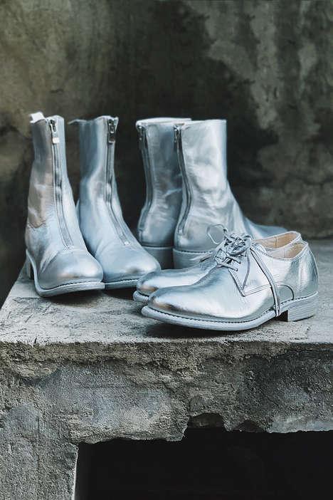 Metallic Silver Leather Footwear