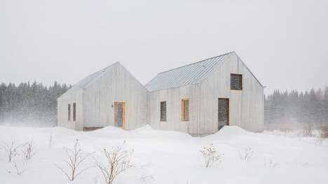 Gabled Wooden Guest Houses - Atelier Pierre Thibault's Résidence Des Stagiaires is in Rural Quebec