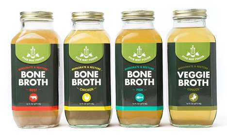 Nutrient-Rich Refrigerated Bone Broths - The Five Way Foods Bone Broths Come in Four Flavor Options