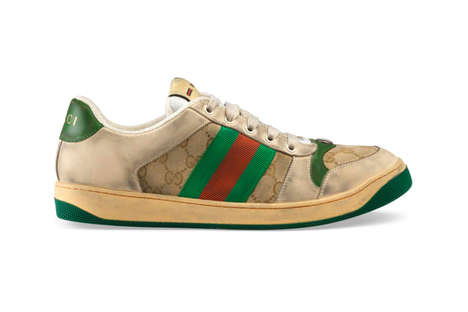 Pre-Scuffed Luxe Sneakers - Gucci's GG Canvas Distressed Sneakers Draws in a Sportswear Inspiration