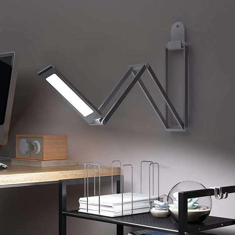 Minimalist Folding Productivity Lights - The Slyonos Foldable LED Desk Lamp is Multifunctional