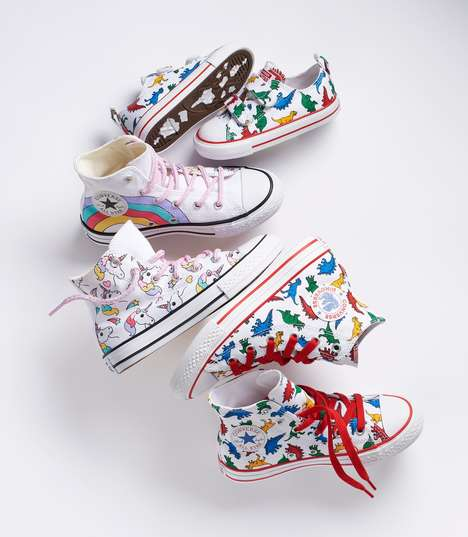 Whimsically Graphic Kid Shoes - The 'Dinoverse' & the 'Unicorn' are Exclusive Kid Converse Designs