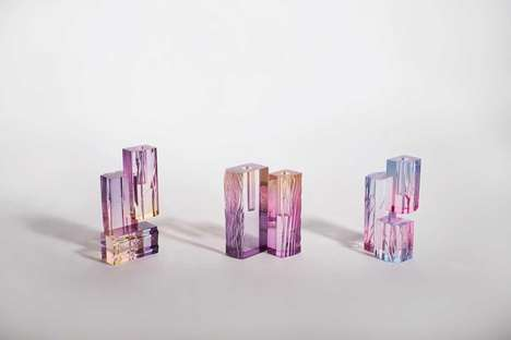 Gorgeous Dyed Acrylic Vases - Saerom Yoon's 'Crystal Series_Vase' is Poetically Inspired