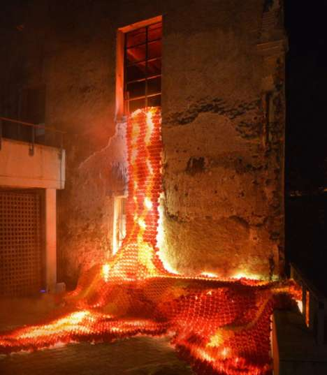 Intricate Origami Lava Installations - This Fiery Design Was Seen at the Lluèrnia Festival