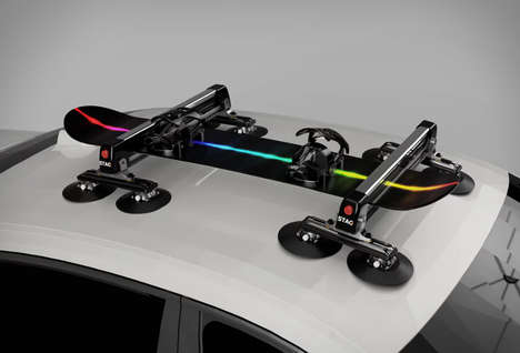 Suctioning Vehicular Gear Racks - The 'Stag Rack' is a Noninvasive Way to Carry Additional Gear